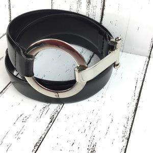 Esprit Black Leather Belt with Silver Buckle SZ L